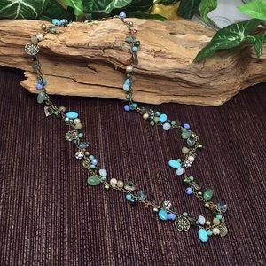 Jewelry - Boho Jewelry Beads Charms Necklace New Blues Green